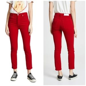 Re/Done Cherry Red Velvet High Rise Ankle Pants